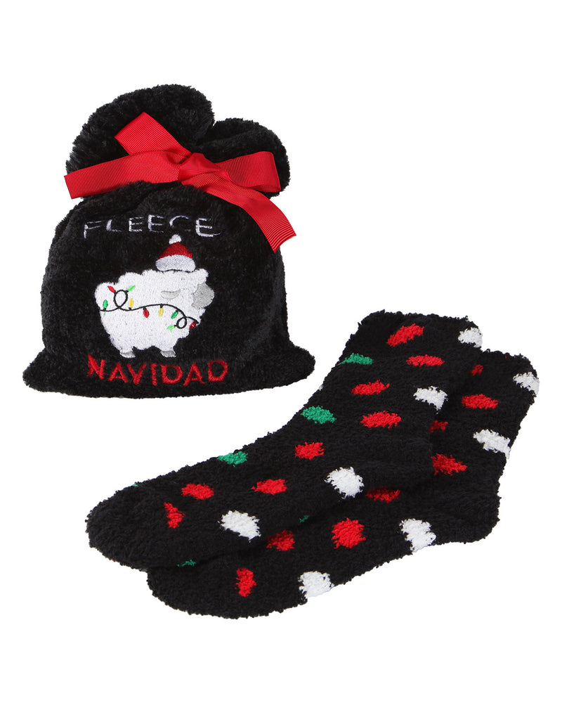 MeMoi Fleece Navidad Cozy Sock & Gift Bag Set