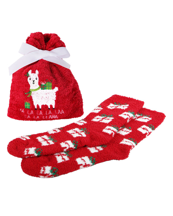 Fa La La Llama Cozy Sock & Gift Bag Set | cozy sliper novelty plush socks for Women | womens clothing |  MGV05554-62009 red -1