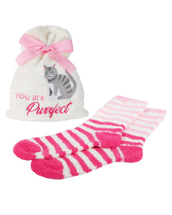 You are Purrfect Cozy Sock & Gift Bag Set | Socks By MeMoi®  | MGV05557 | Ivory