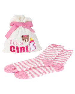 It's a Girl Cozy Sock & Gift Bag Set | Socks By MeMoi®  | MGV05855 | Ivory