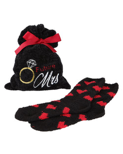 Future Mrs. Cozy Sock & Gift Bag Set | Socks By MeMoi®  | MGV05858 | Black