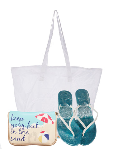 Keep Your Feet in the Sand Foldable Flats Pouch Set