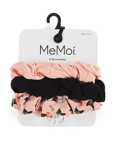Dogs & Woof 3-Pack Hair Scrunchies | Hair Scrunchies by MeMoi | Mauve MGV06398