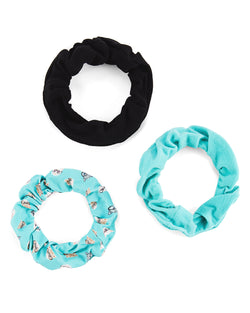 Studious Cats 3-Pack Hair Scrunchies | Hair Scrunchies by MeMoi | Blue MGV06402