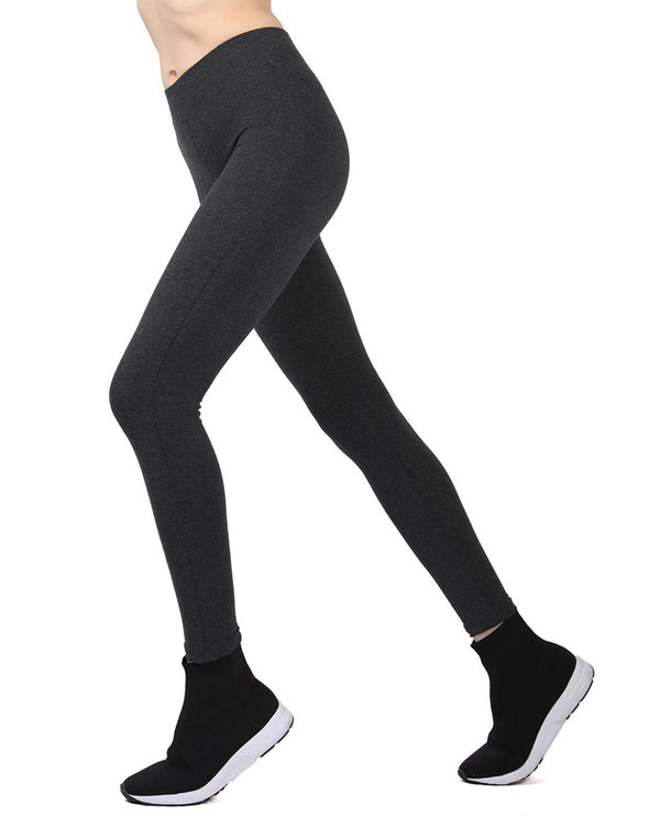 Memoi Dark Grey Heather Cotton Leggings | Women's Hosiery - Premium Capri Leggings