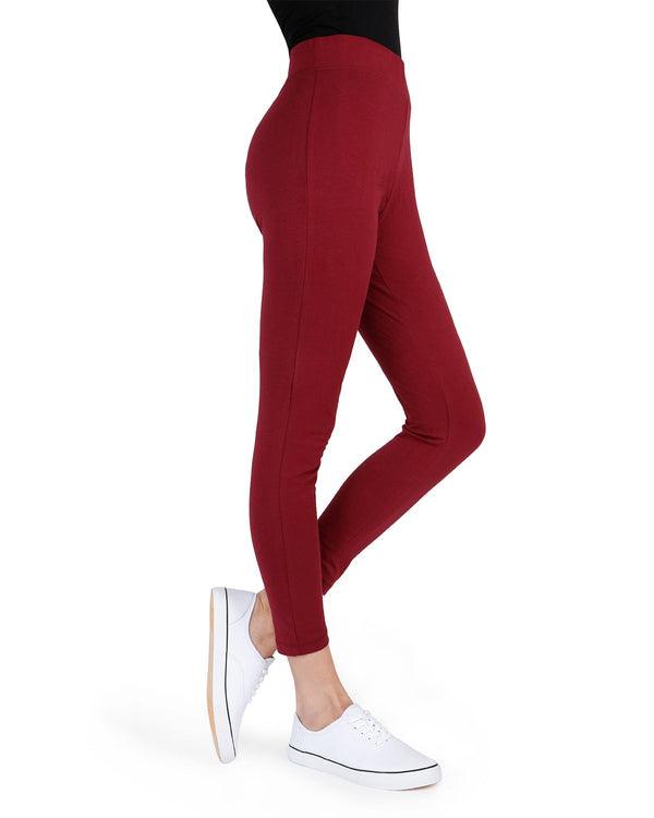 Memoi Burgundy Cotton Leggings | Women's Hosiery - Premium Capri Leggings