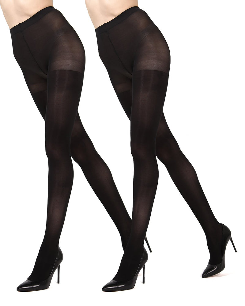 MeMoi Black/Black Solid 2-Pair Control Top Microfiber Tights | Women's Hosiery - Pantyhose - Nylons