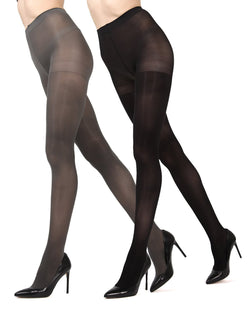 MeMoi Grey/Black Solid 2-Pair Control Top Microfiber Tights | Women's Hosiery - Pantyhose - Nylons