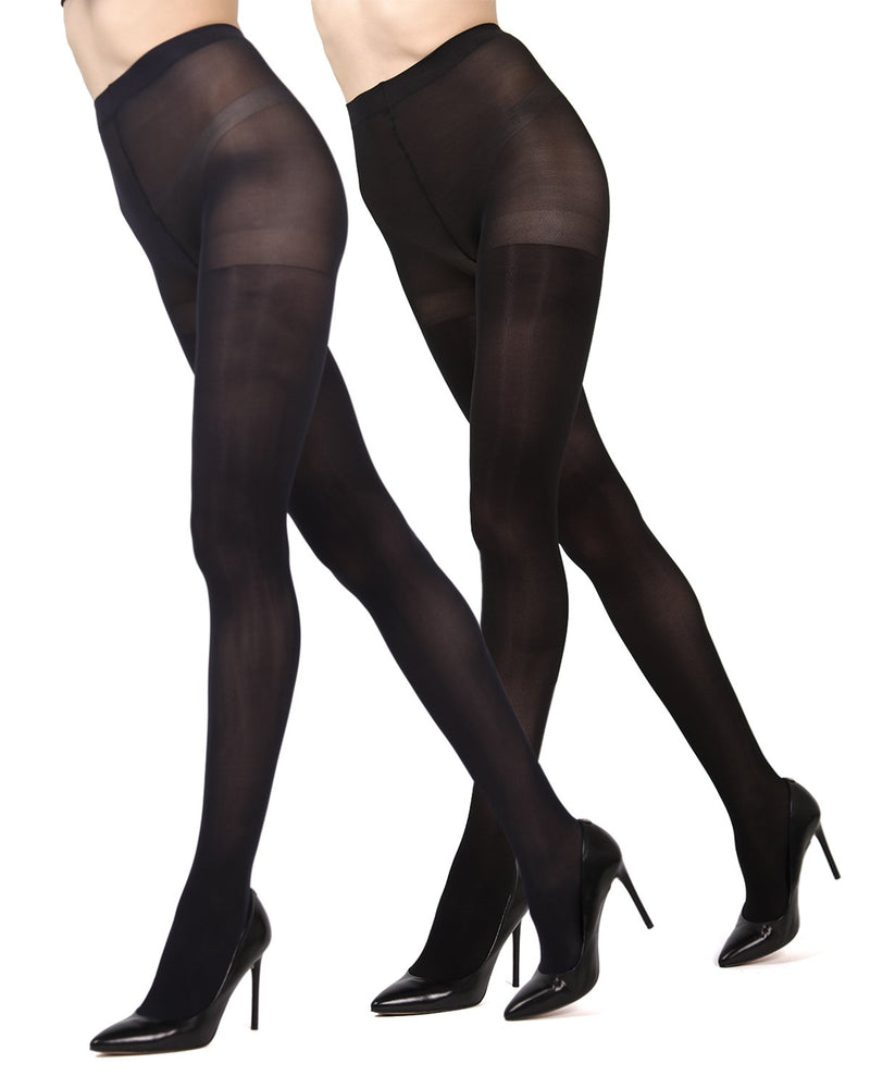 MeMoi Navy/Black Solid 2-Pair Control Top Microfiber Tights | Women's Hosiery - Pantyhose - Nylons