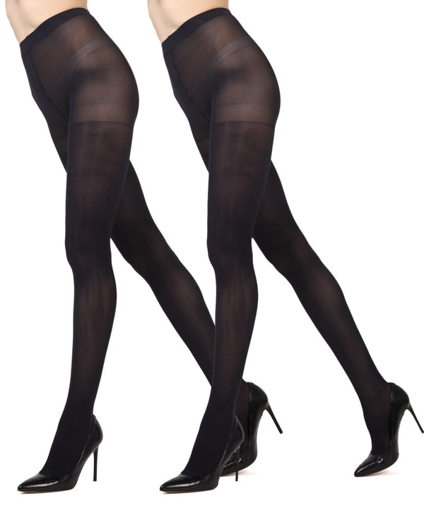 MeMoi Navy/Navy Solid 2-Pair Control Top Microfiber Tights | Women's Hosiery - Pantyhose - Nylons