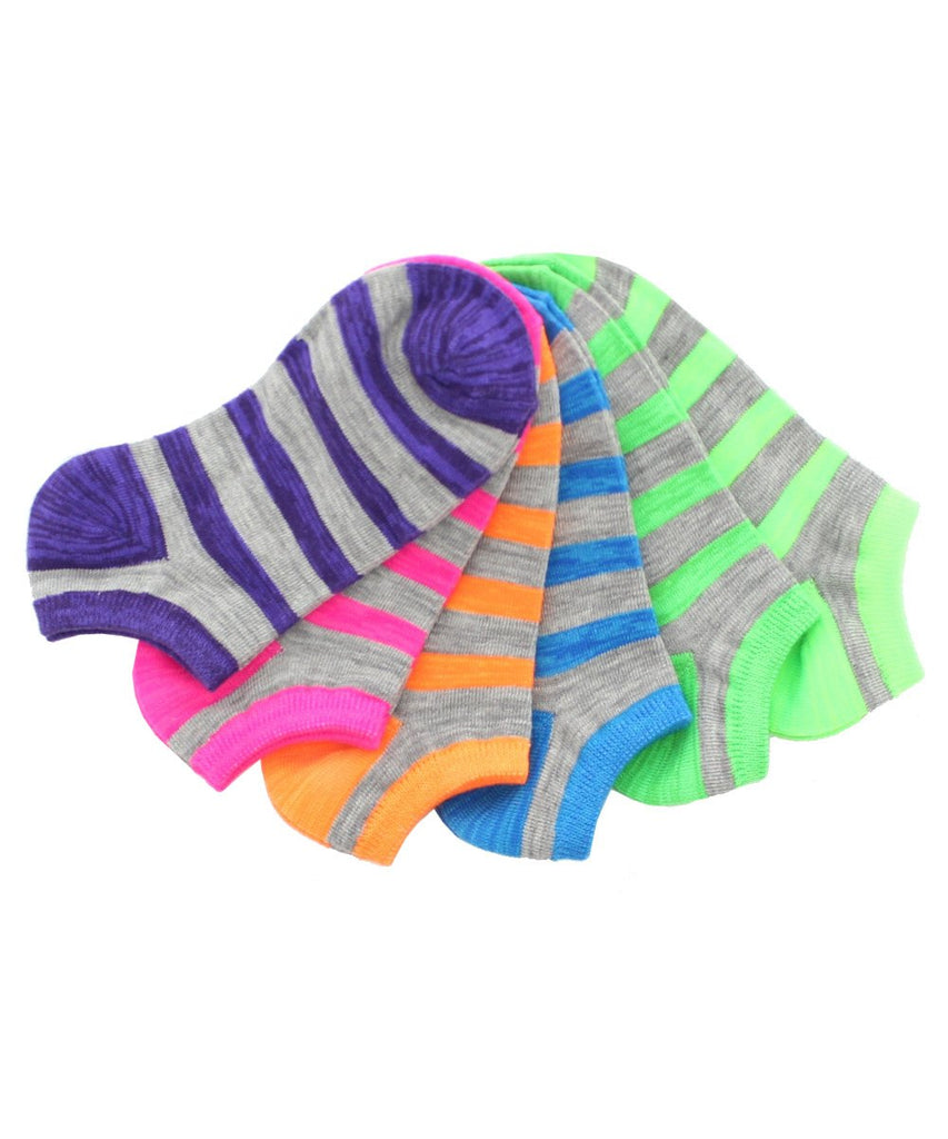 Stripe Over Low Cut Socks (6 Pack Special) - MeMoi