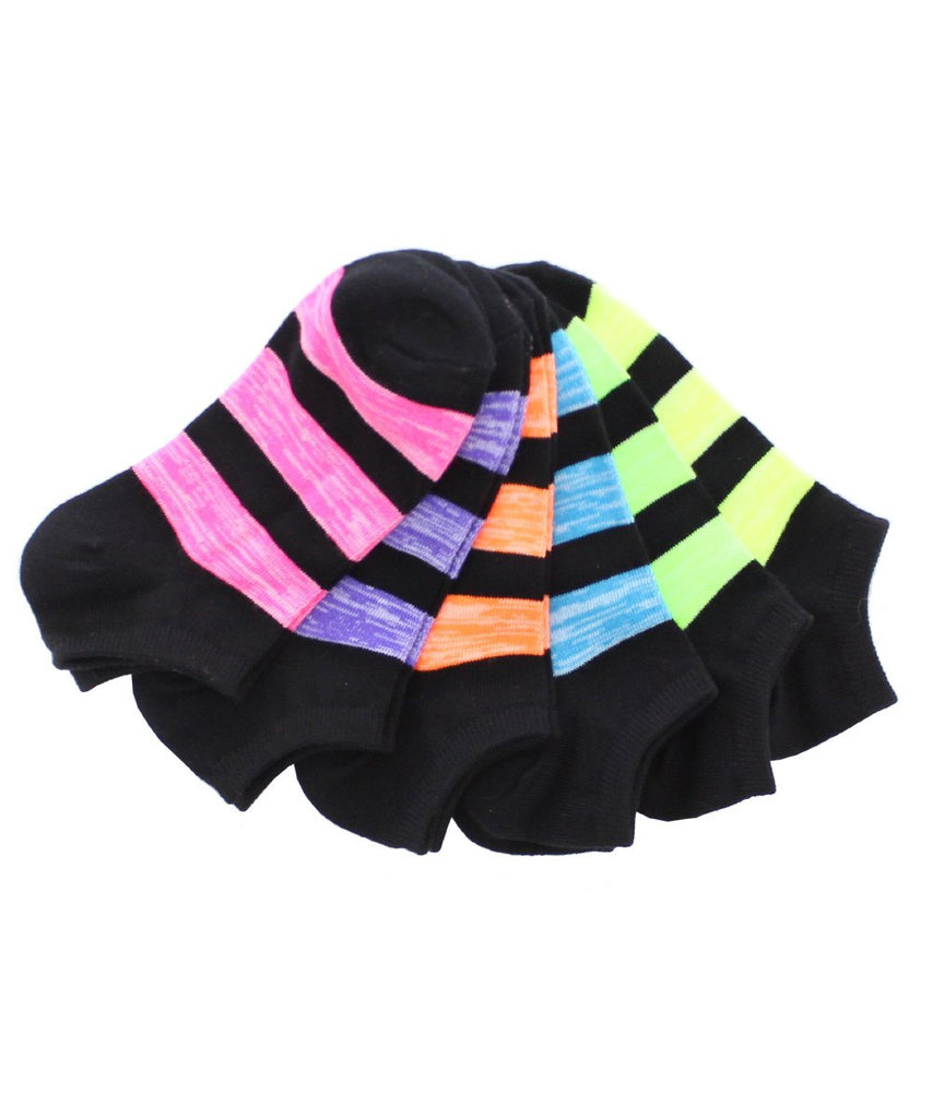 Triple Stripe Low Cut Socks (6 Pack Special) - MeMoi