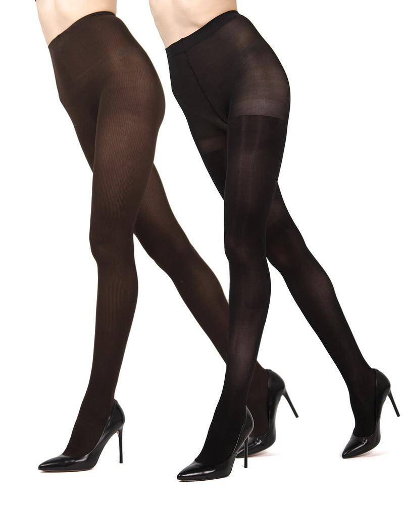 MeMoi Brown/Black Ribbed/Solid 2-Pair Control Top Tights | Women's Hosiery - Pantyhose - Nylons