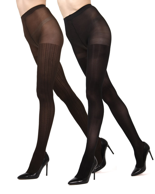 MeMoi Brown/Black Cable Ribbed/Solid 2-Pair Control Top Tights | Women's Hosiery - Pantyhose - Nylons