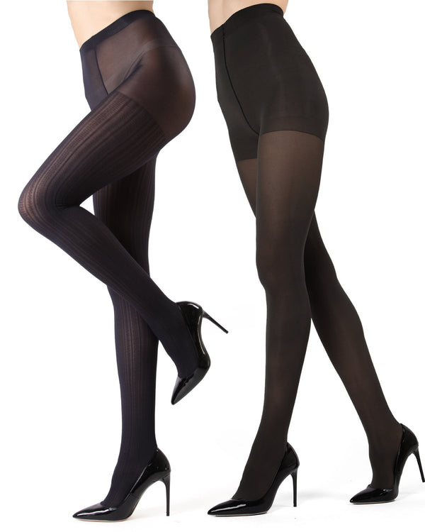 MeMoi Navy/Black Cable Ribbed/Solid 2-Pair Control Top Tights | Women's Hosiery - Pantyhose - Nylons