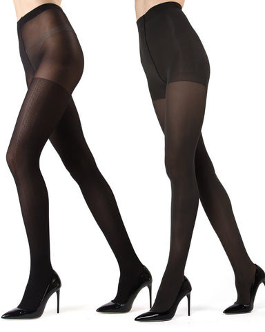 MeMoi Black/Black Chevron Wave/Solid 2-Pair Control Top Tights | Women's Hosiery - Pantyhose - Nylons
