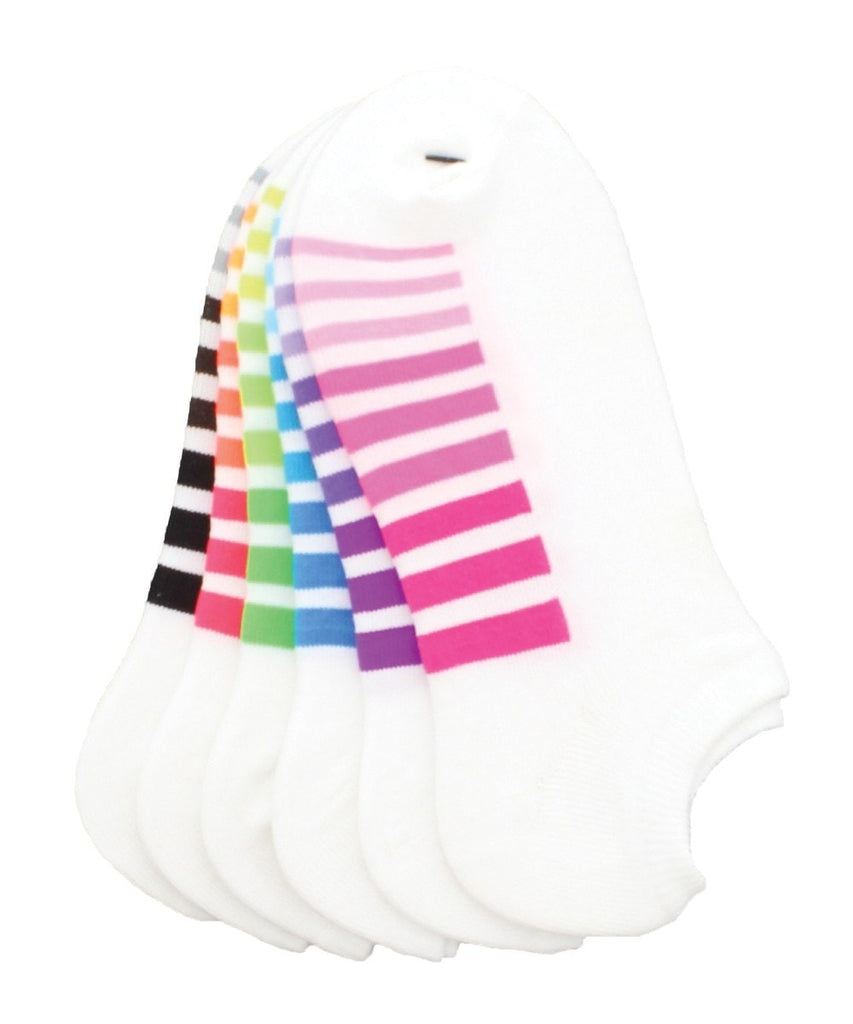 Gradient Stripes Low Cut 6 Pair Women's Socks - MeMoi