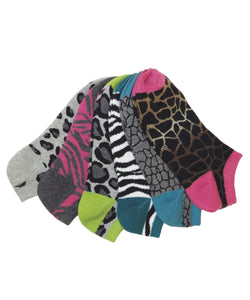 MeMoi Assorted Low-Cut Animal Print Socks 6-Pack
