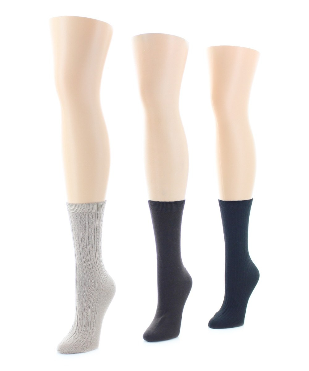 Rib/Flatknit/Texture (6 Pair) Soft-Fit Crew Socks - MeMoi - 1