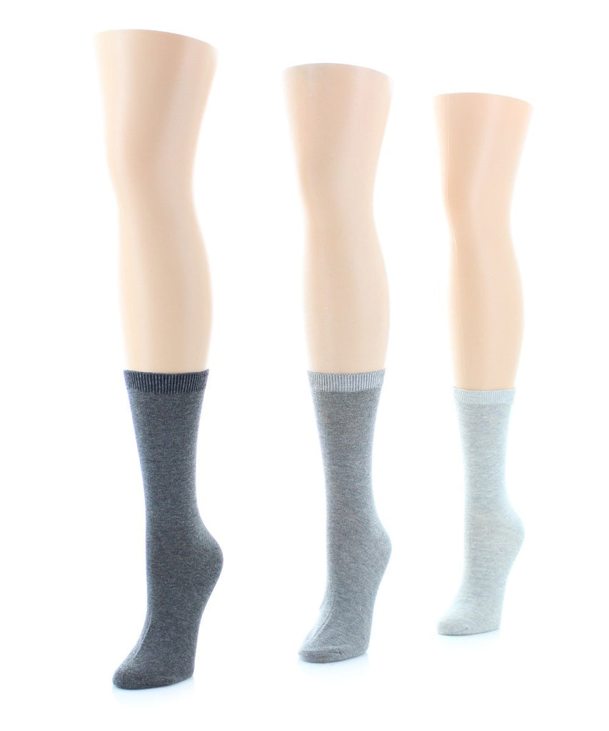 Basic Flat Soft-Fit Women's Crew Knit Socks (3 Pairs/1 Size) - MeMoi - 3