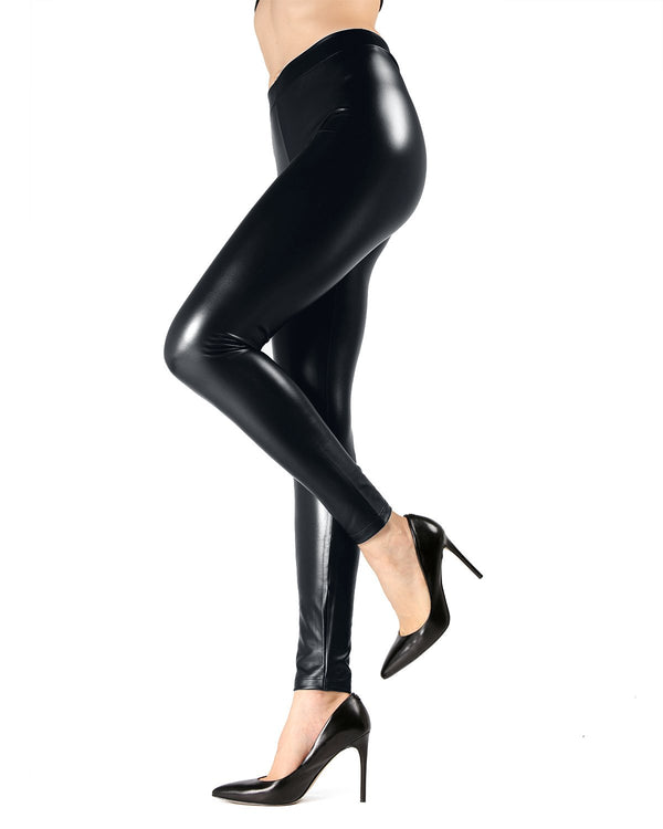 MeMoi Basic Black Pleather Leggings | Women's Premium Fashion Leggings | Top Women Jeggings MJF02580