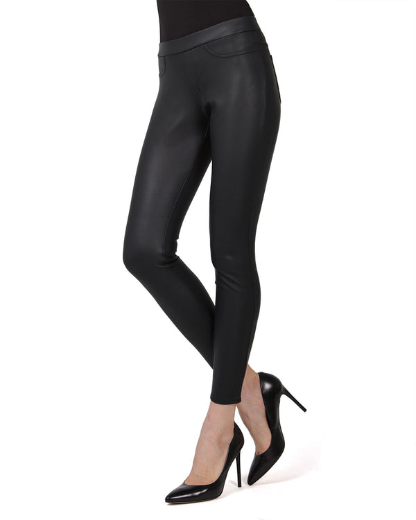 MeMoi Classic Pleather Leggings | Women's Vegan / Faux Leather Leggings Collection | Black MJF-02581