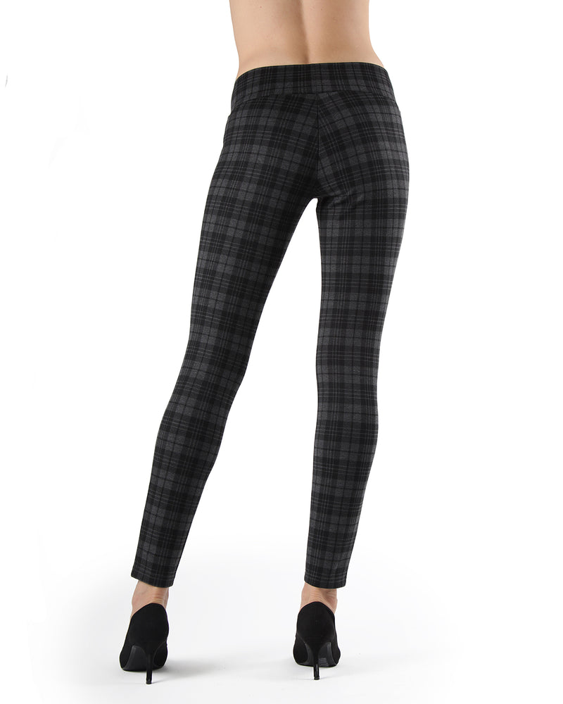 Evanesce Plaid Shaping Leggings| Leggings by MeMoi | MJF05416 | Dark Gray Heather 3
