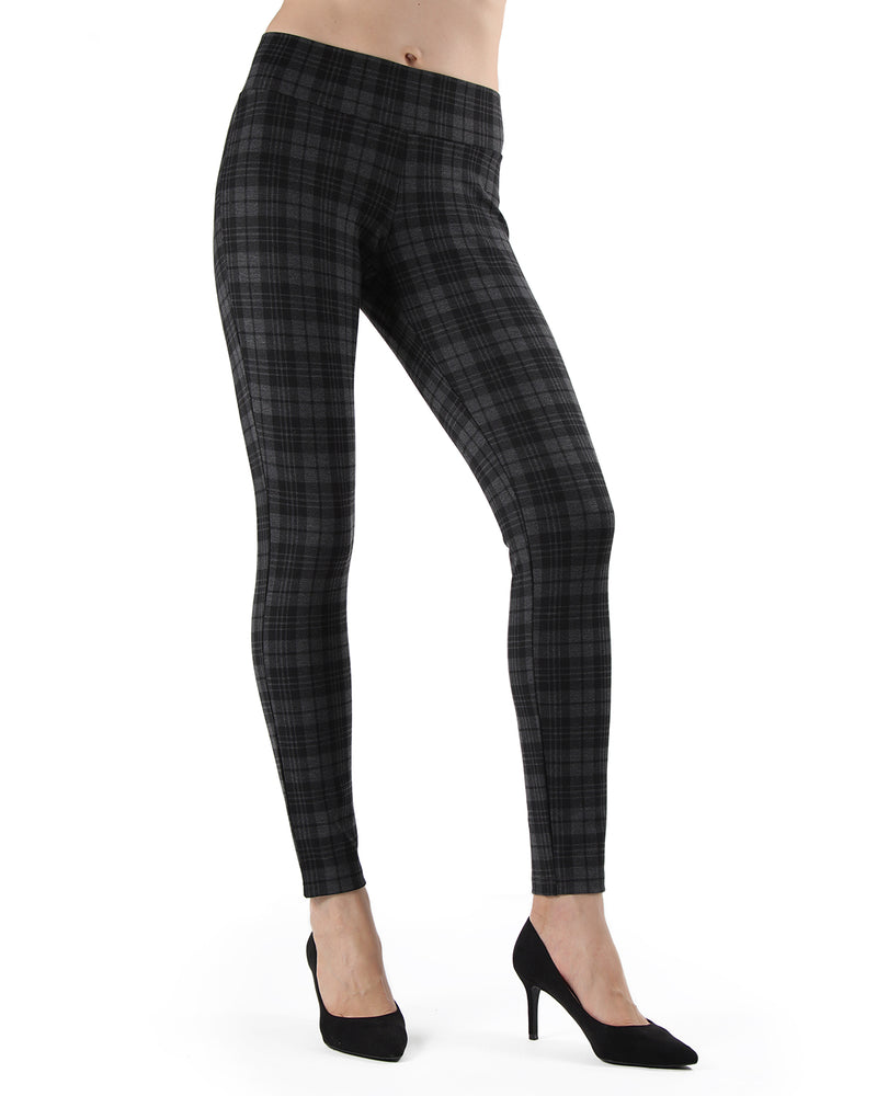 Evanesce Plaid Shaping Leggings| Leggings by MeMoi | MJF05416 | Dark Gray Heather 1