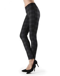 Evanesce Plaid Shaping Leggings| Leggings by MeMoi | MJF05416 | Dark Gray Heather