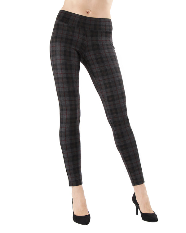 Contempo Plaid Shaping Leggings| Leggings by MeMoi | MJF05417 | Dark Gray Heather 1