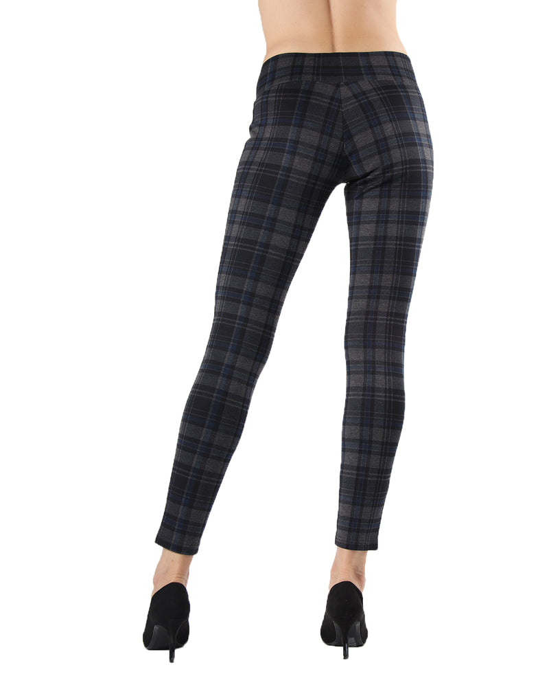 Geo Plaid Shaping Leggings | Leggings by MeMoi | MJF05417 | Navy 2