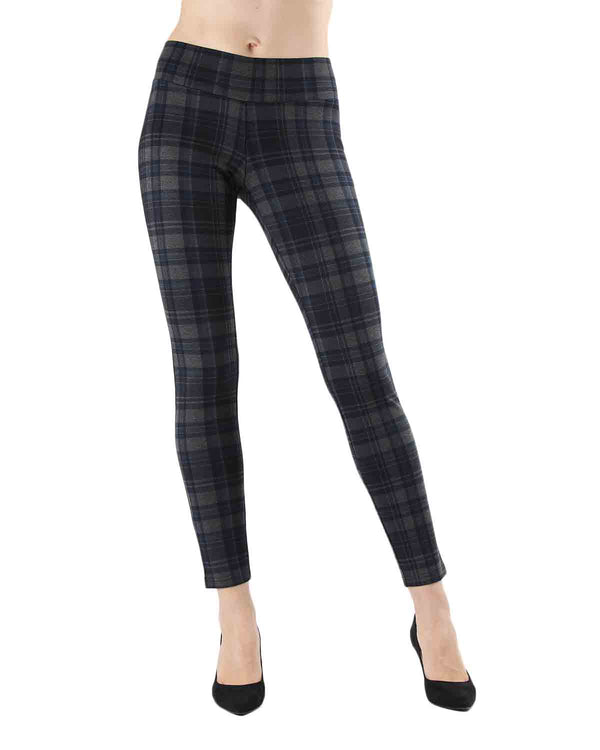 Geo Plaid Shaping Leggings | Leggings by MeMoi | MJF05417 | Navy 1