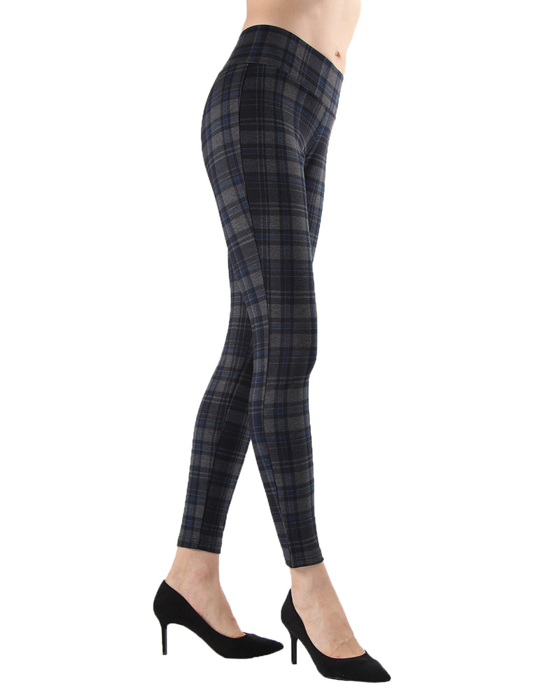Geo Plaid Shaping Leggings | Leggings by MeMoi | MJF05417 | Navy