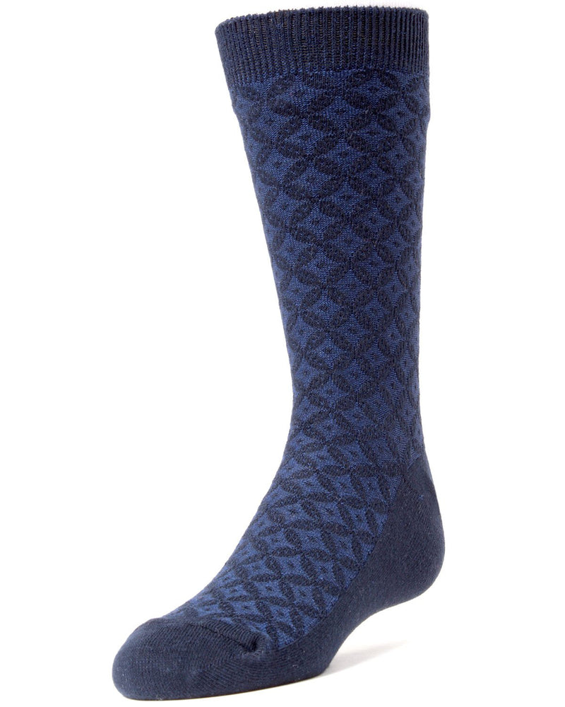 MeMoi Diamonds and Dots Boys Dress Crew Socks