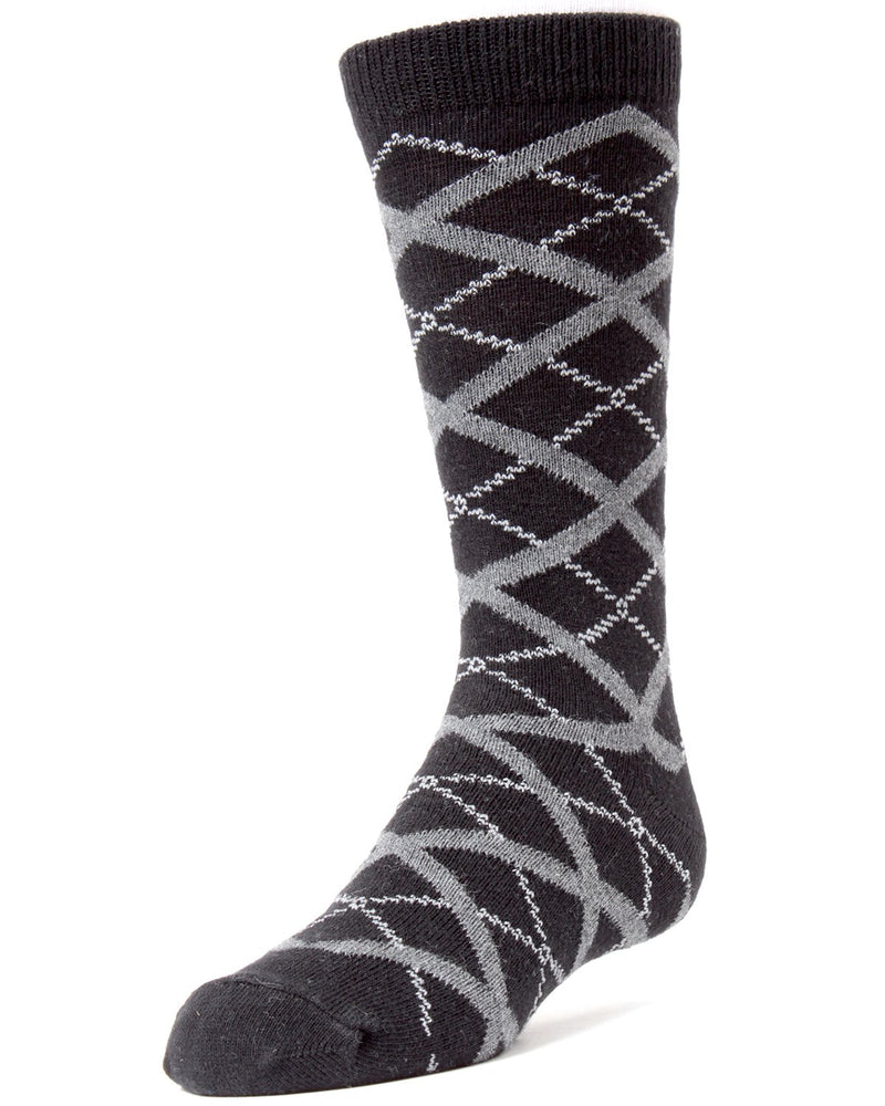 Diamond Interlock Boys Dress Crew Socks