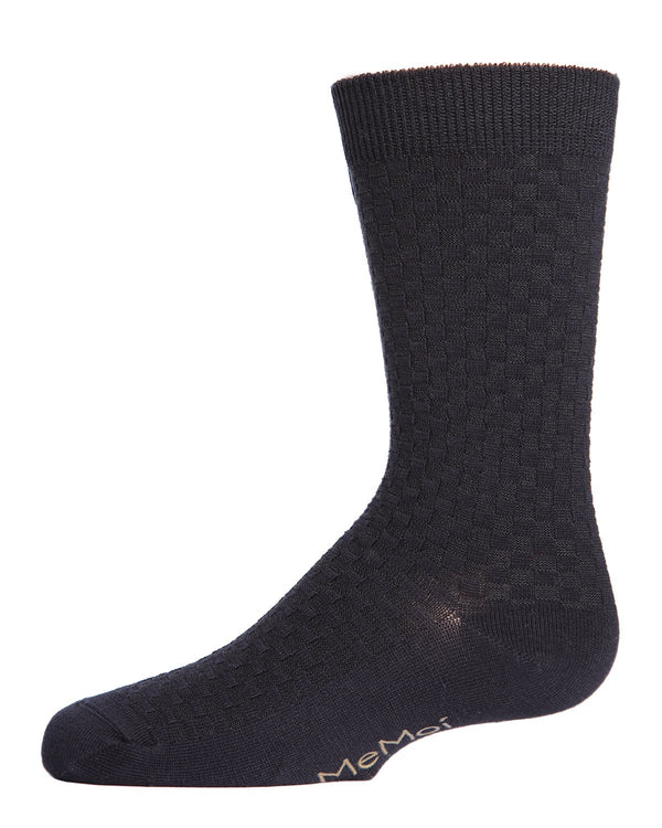 Boys Basket Weave Patterned Crew Socks