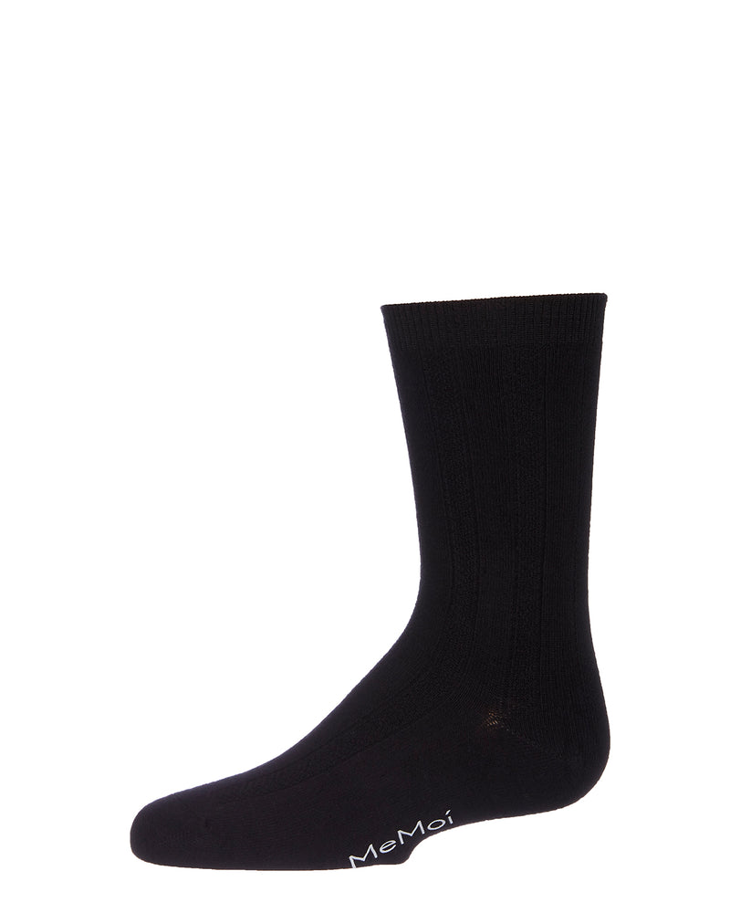 Woven Ribbed Bamboo Blend Boy's Crew Socks