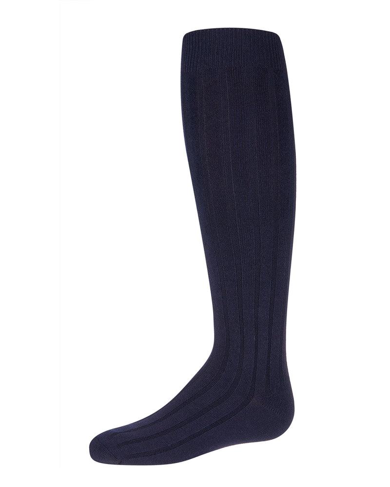 Girls Wide Ribbed Uniform Knee Socks