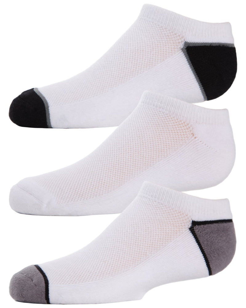 Unisex No-Show Sport Socks Three-pack | No Show Socks | Ankle Socks by MeMoi | Black/White/Gray MK-550
