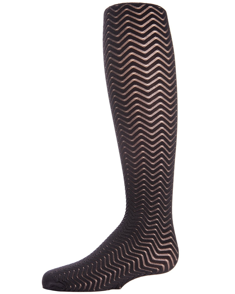 Sheer Wave Chevron Girls Tights| Tights for Girls by MeMoi® | Opaque and Sheer Stripes Hosiery | Black MK-717