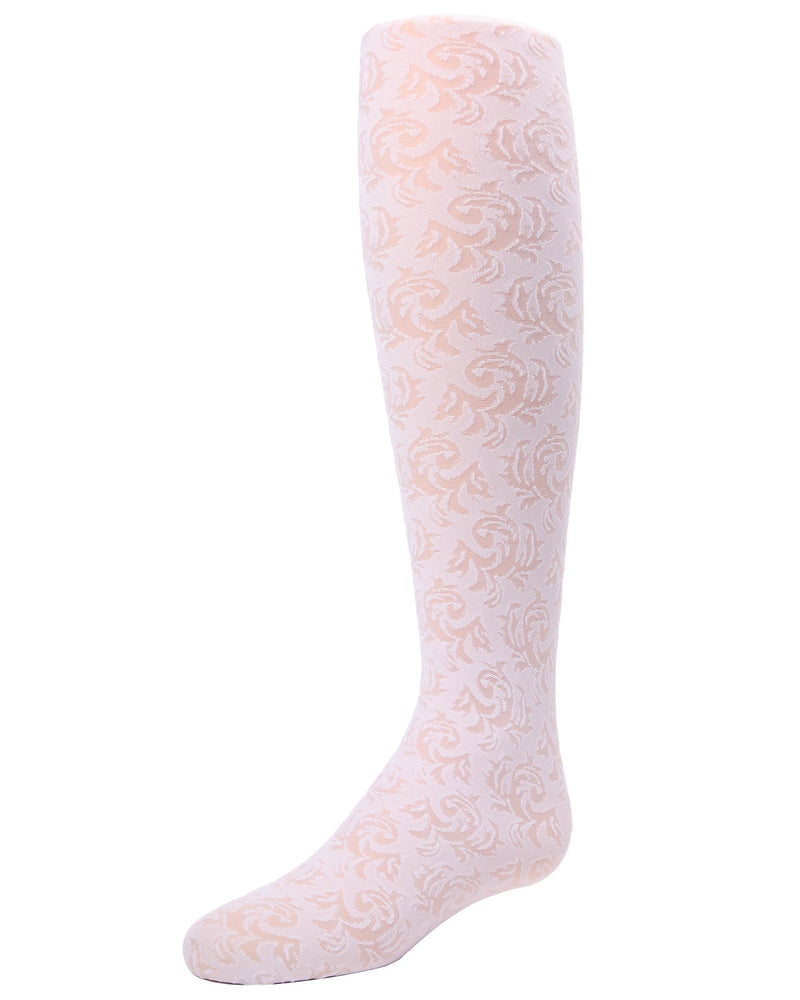 SHEER VINE GIRLS TIGHTS | MeMoi Girls Sheer Tights - Pantyhose - Nylons | White MK 741