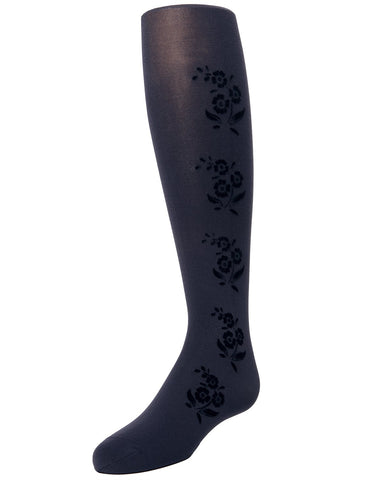 Flocked Floral Girls Tights