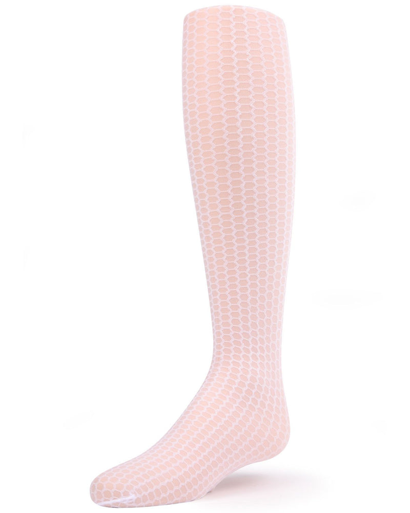 Honeycomb Tights | Explore Sheer Tights for Girls by MeMoi® | Pantyhose - Hosiery - Nylons | White MK-800