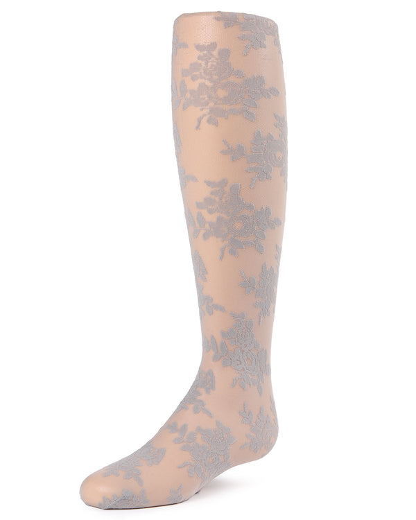 Fancy Floral Girls Sheer Tights