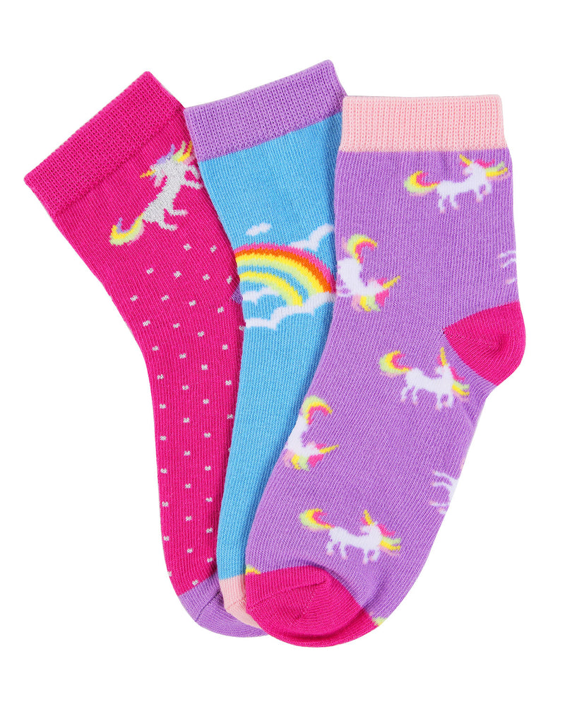 Unicorn Ankle Socks (3-Pak) | Girls Rainbow Ankle Sock by MeMoi | Assorted MKC 1000 -2