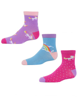 Unicorn Ankle Socks (3-Pak) | Girls Rainbow Ankle Sock by MeMoi | Assorted MKC 1000