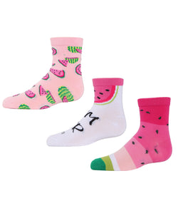 Watermelon Ankle Socks | MeMoi mid cut Socks for girls |  Assorted C MKC 1002