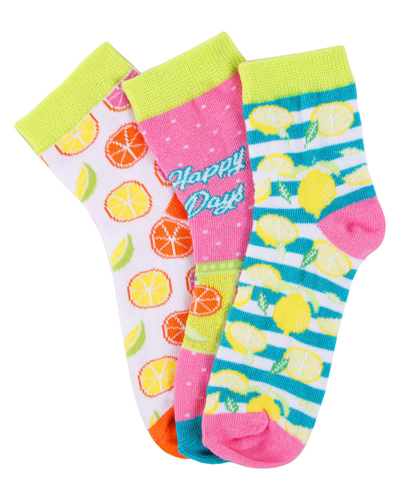 Lemons Ankle Socks | MeMoi mid cut Socks for girls |  Assorted MKC 1003 -2