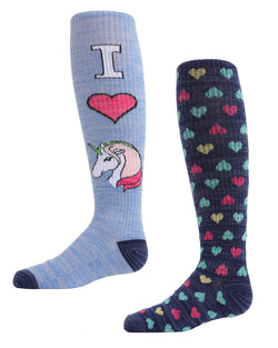 Unicorn Knee High Socks | MeMoi Cotton Knee High Socks for girls | White MKF 7043