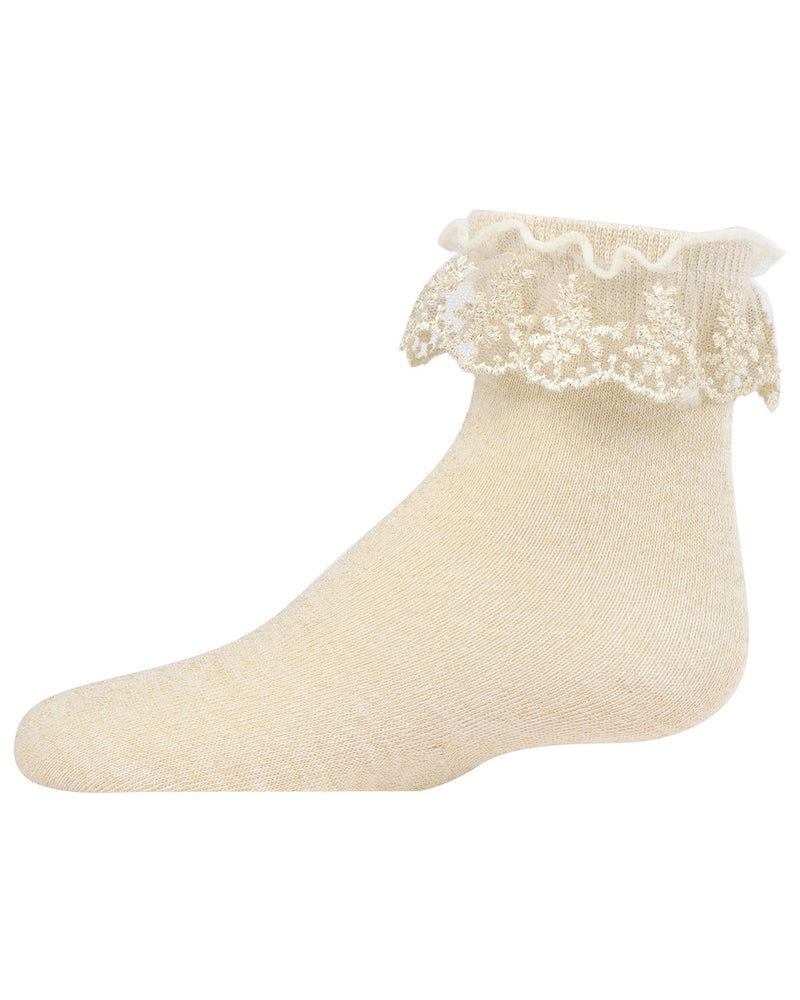 Step and Shimmer Girls Ruffle Quarter Crew Socks